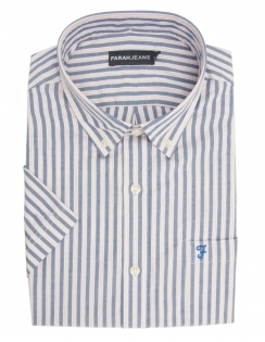 Yardley Pure Cotton Half Sleeve Striped Shirt - Pink & Blue