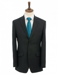 Yunsa Wide Pinstripe Suit - Black