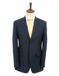 Yunsa Wide Pinstripe Suit - Navy