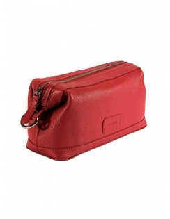 Zip Top Leather Wash bag - Berry
