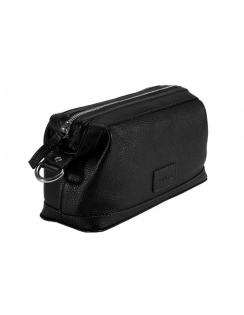 Zip Top Leather Wash bag - Black