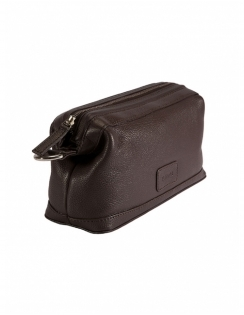 Zip Top Leather Wash bag - Chocolate