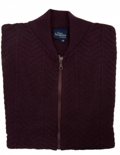 Zip Up College Cardigan - Burgundy