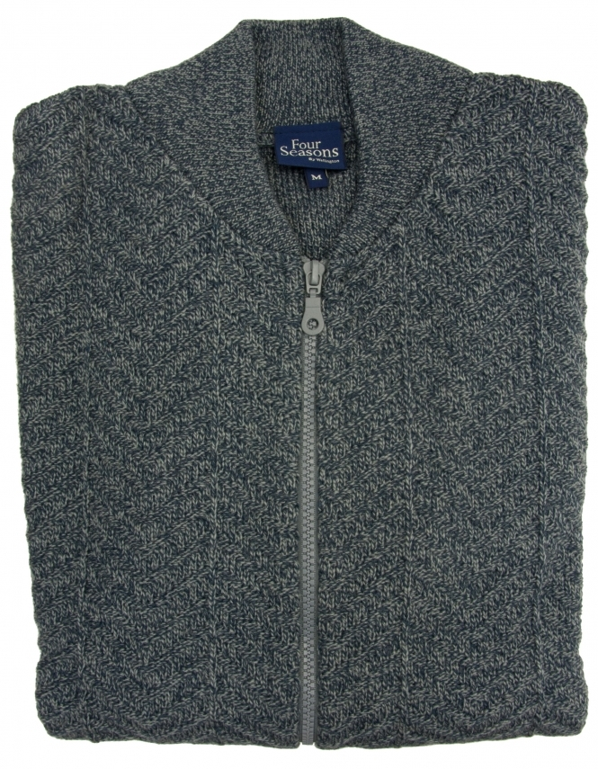 Four Seasons Zip Up College Cardigan - Grey